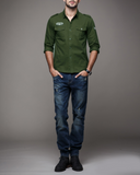 Mens Military Style Long Sleeved Button Down Shirt - AmtifyDirect