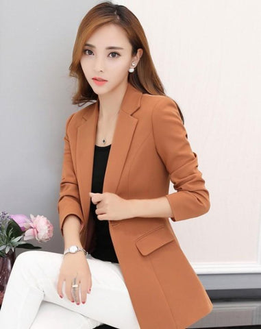 womens orange polyester vegan friendly one button slim fit blazer - AmtifyDirect