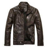 Mens Zip Up Button Collar Faux Leather Jacket
