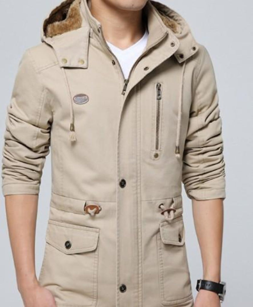 Mens Trench Coat with Removable Hood and Warm Lining