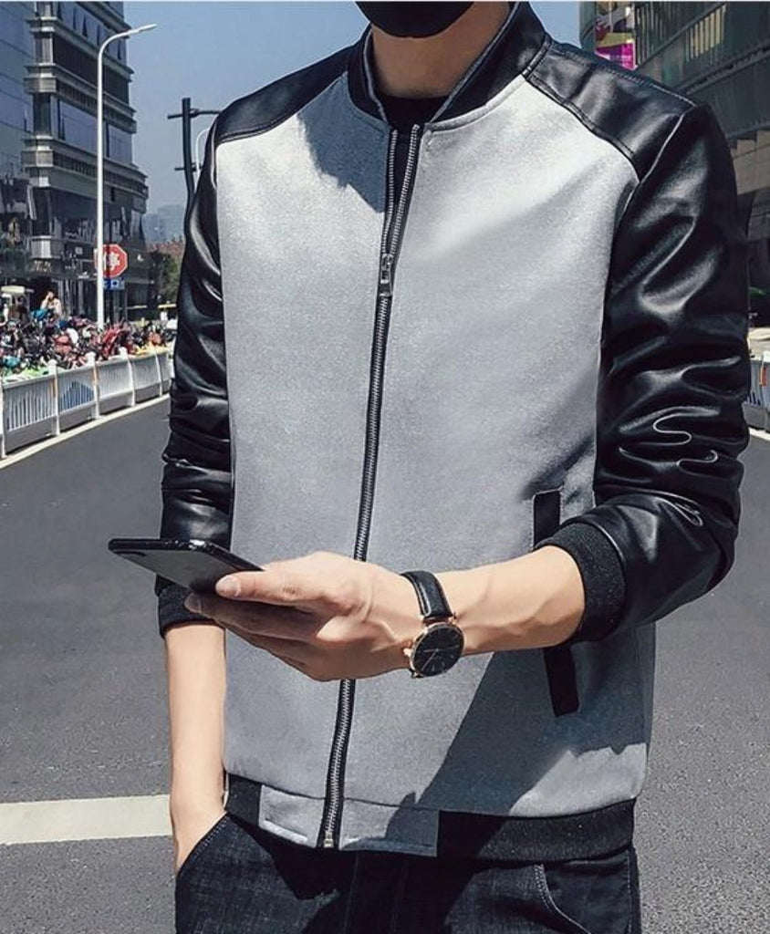 Mens Short Jacket with PU Leather Sleeves