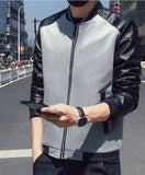 mens gray PU leather/cotton blend/polyester bomber jacket - AmtifyDirect