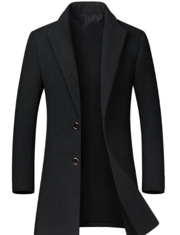 Mens Classic Dual Button Mid Length Coat