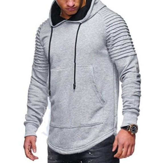 Mens Slim Fit Hoodie with Shoulder Details