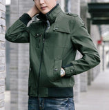 mens army green military style zip up jacket