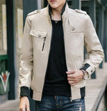 mens beige military style zip up jacket