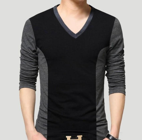 Mens V Neck Long Sleeve Top