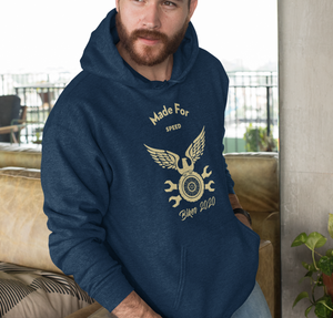 Mens Biker Speed Hooded Sweatshirt