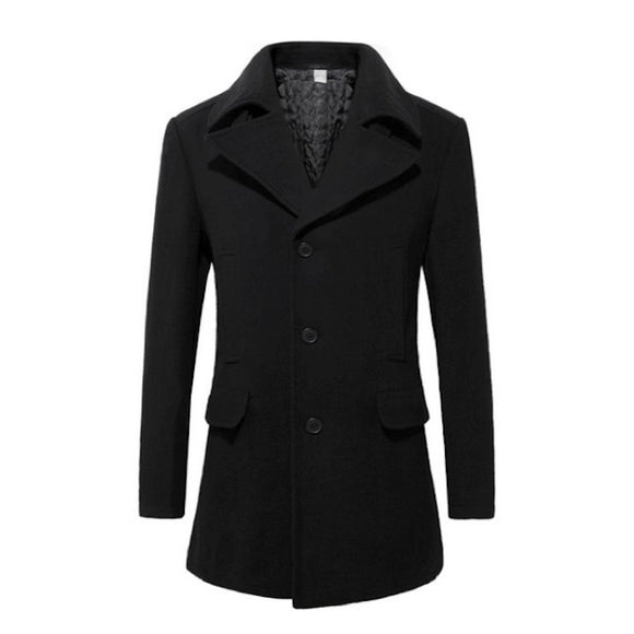 Mens Mid Length Wool Blend Coat