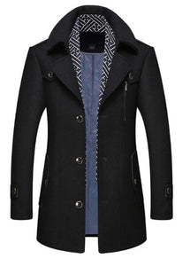 Mens Layered Collar Button Front Mid Length Coat