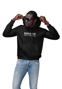 Mens Encouragement Never Give Up Hoodie