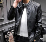 Men's Biker Faux Leather Jacket - AmtifyDirect