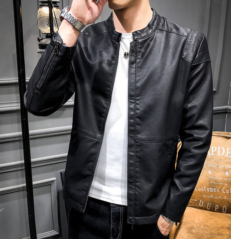 mens black faux leather vegan friendly jacket - AmtifyDirect