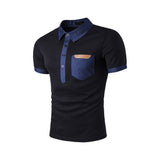 mens black cotton short sleeve polo shirt with denim details - AmtifyDirect
