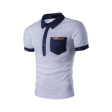 mens white cotton short sleeve polo shirt with denim details - AmtifyDirect