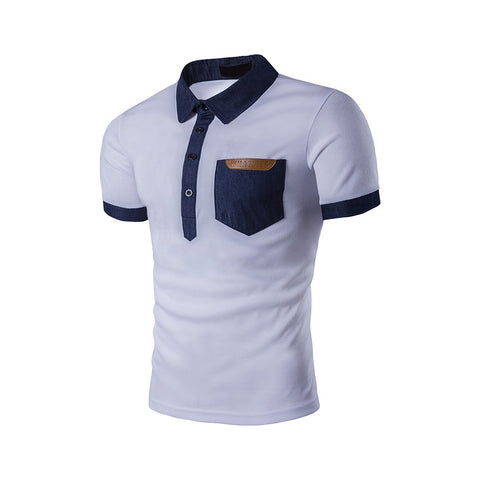 Mens Short Sleeve Polo Shirt with Denim Details