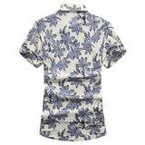 Mens Floral Short Sleeve Shirt in Blue