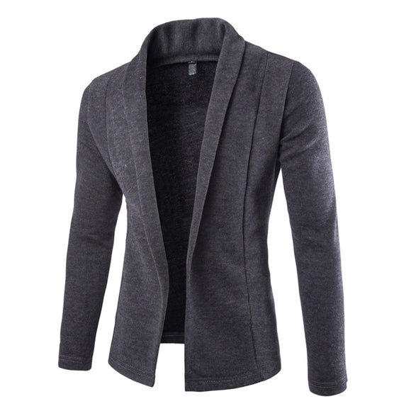 Mens Dark Gray Cotton Blend Open Front Light Cardigan - AmtifyDirect