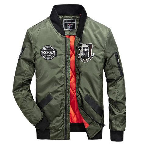 Mens Nylon Bomber Jacket with Badges - AmtifyDirect