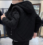 mens black polyester/cotton blend jacket with faux fur lining - AmtifyDirect