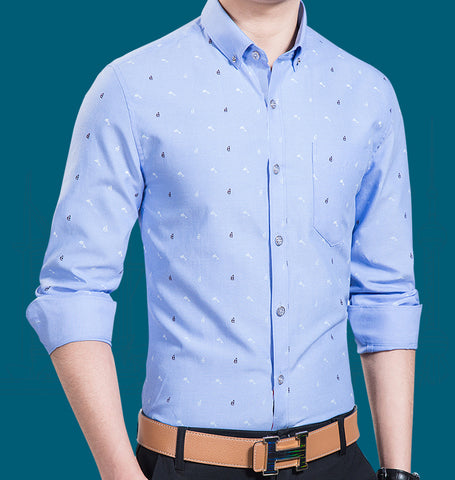 Mens Blue Shirt with Dolphin Print