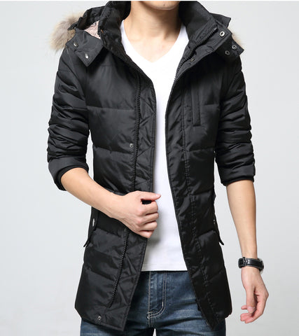 Mens Black Quilted Down Jacket