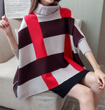 Womens Plaid Sweater Cape