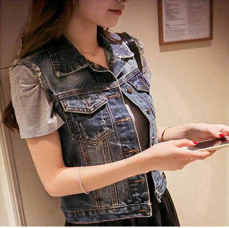 Womens Faded Sleeveless Denim Vest