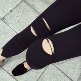 Ripped Leggings with Front Details
