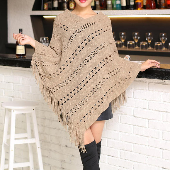 womens khaki acrylic blend vegan friendly poncho - AmtifyDirect
