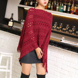 womens red acrylic blend vegan friendly poncho - AmtifyDirect