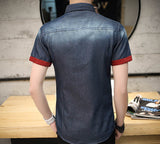 Mens Denim Short Sleeve Shirt with Contrasting Details