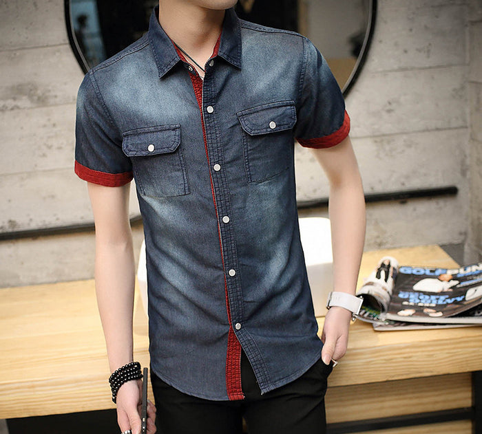 Mens Denim Short Sleeve Shirt with Contrasting Details - AmtifyDirect