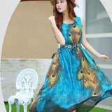 Summer One Piece Long Peacock Sleeveless Dress