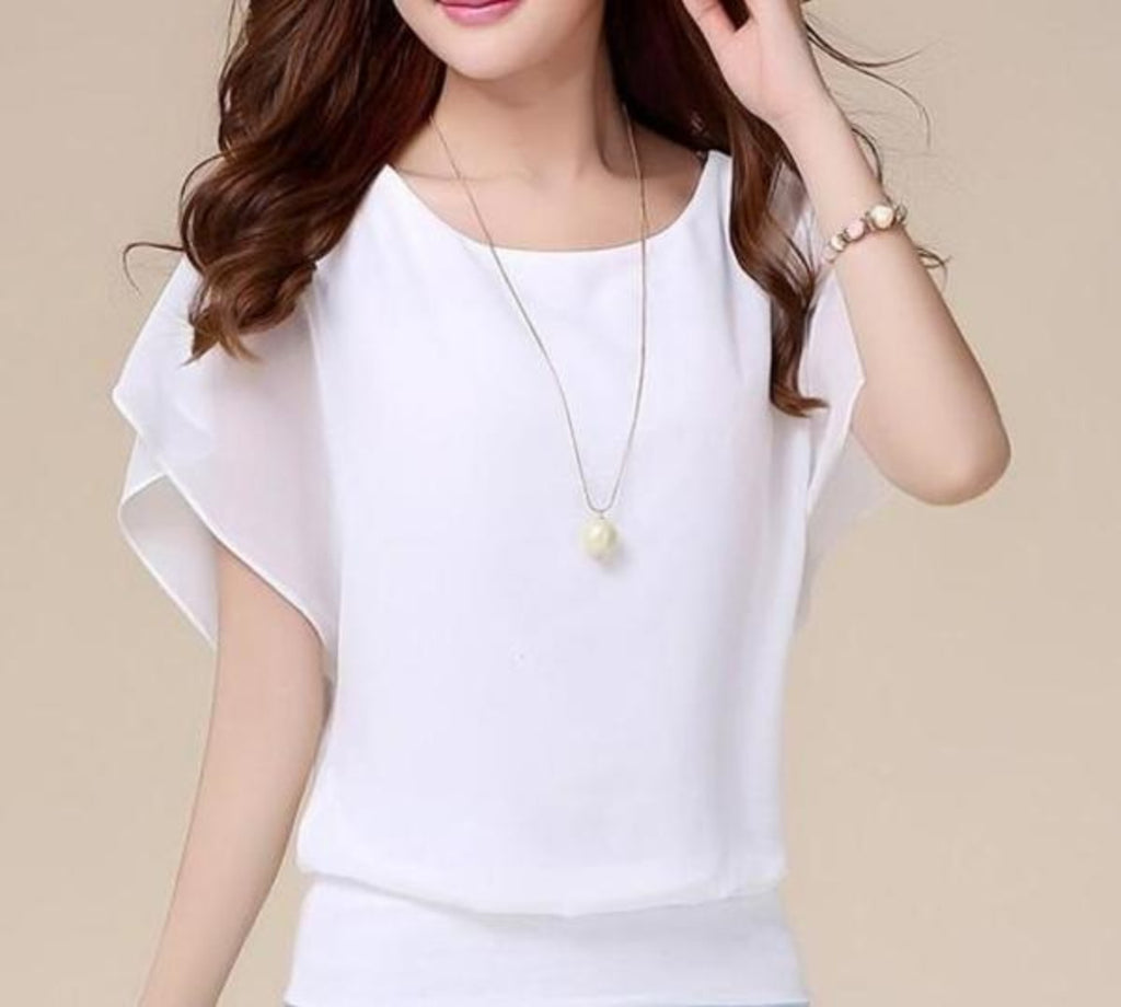 Casual Chiffon Batwing Blouse - AmtifyDirect