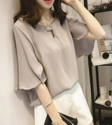 Womens Flutter  Sleeve Blouse