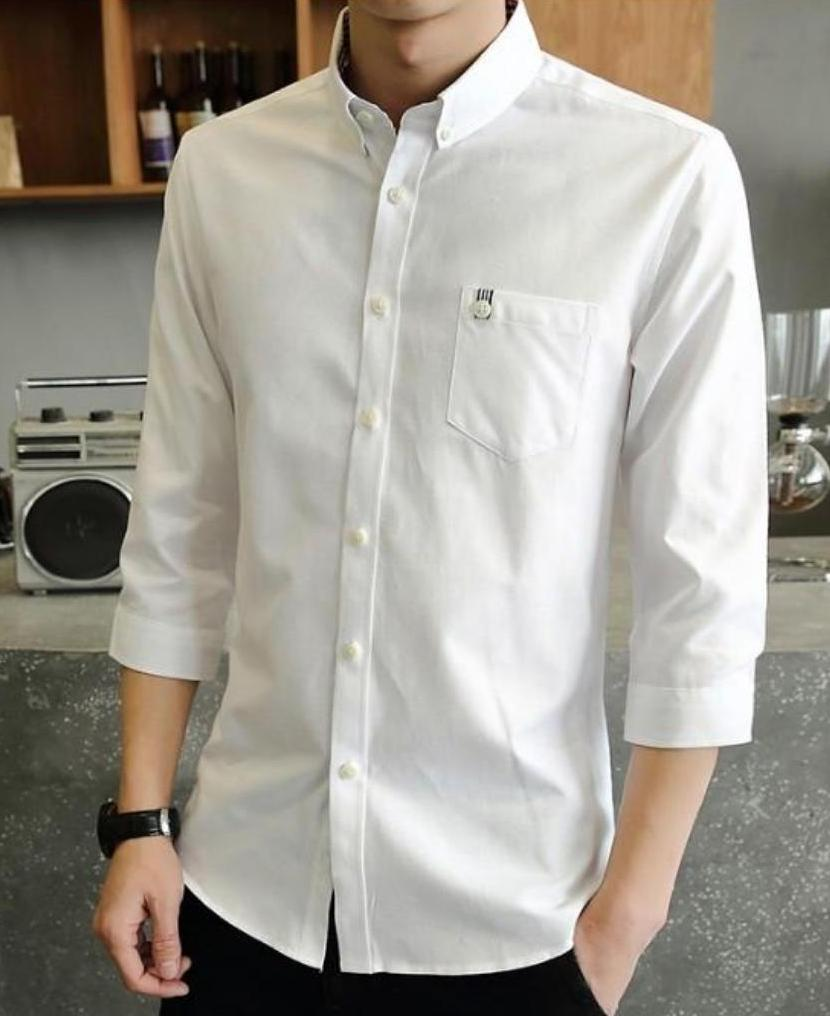 Mens Slim Fit Casual Quarter Sleeve Shirt