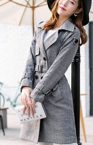Womens Houndstooth Trench Coat - AmtifyDirect