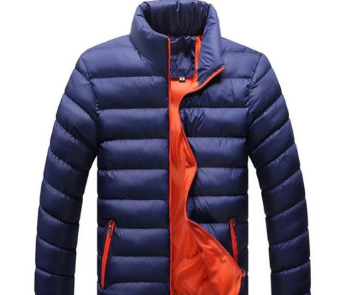 Mens Navy Puffer Bomber Jacket - AmtifyDirect