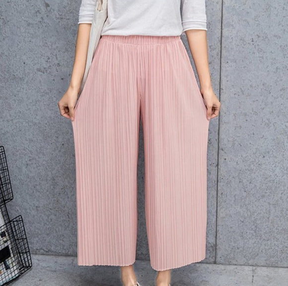 Womens Wide Leg Chiffon Pants