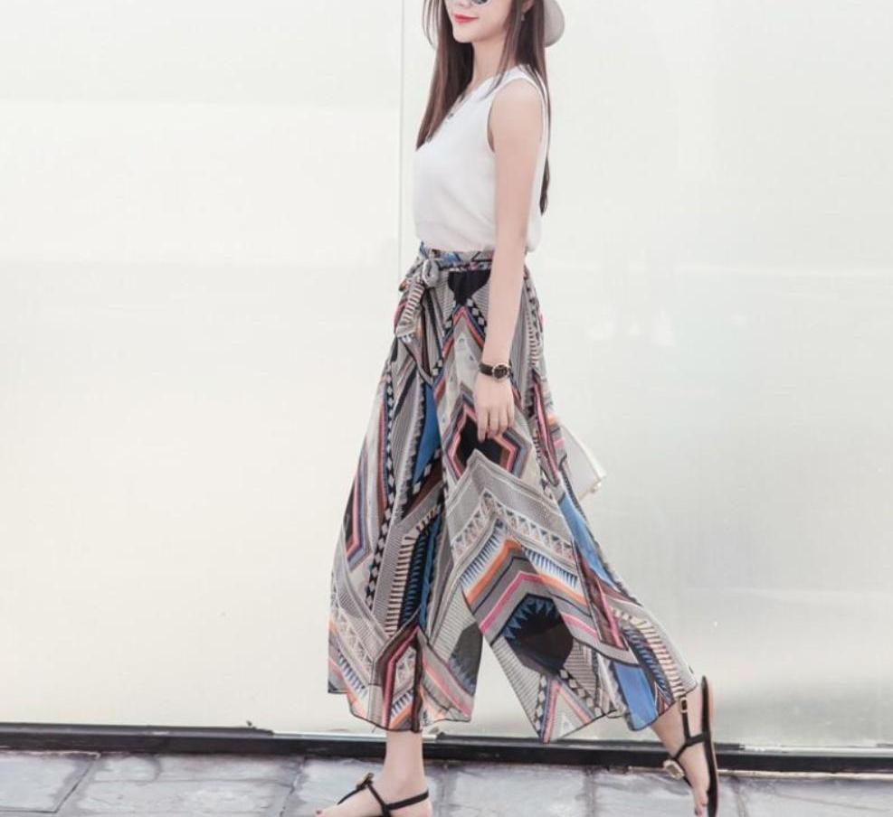 Womens Wide Leg Chiffon Print Pants