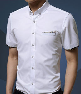 Mens  Short Sleeve Shirt with Floral Details Pocket - AmtifyDirect
