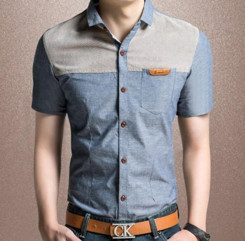 Mens Denim Theme Short Sleeve Shirt - AmtifyDirect
