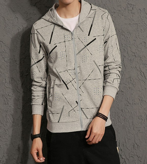 Mens Gray Polyester/Cotton Blend  Graphic Hoodie - AmtifyDirect