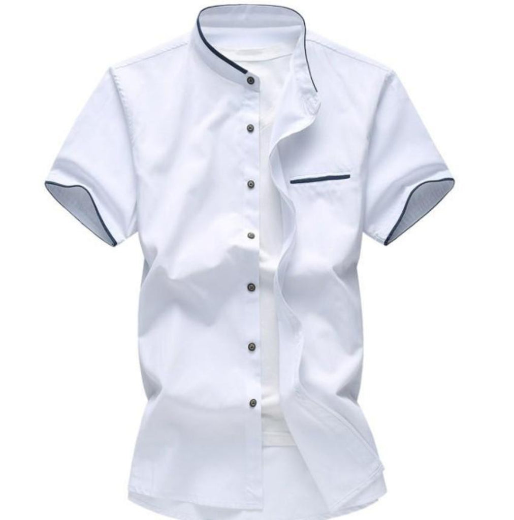 Mens Short Sleeve Stand Up Collar Shirt with Contrasting Trim