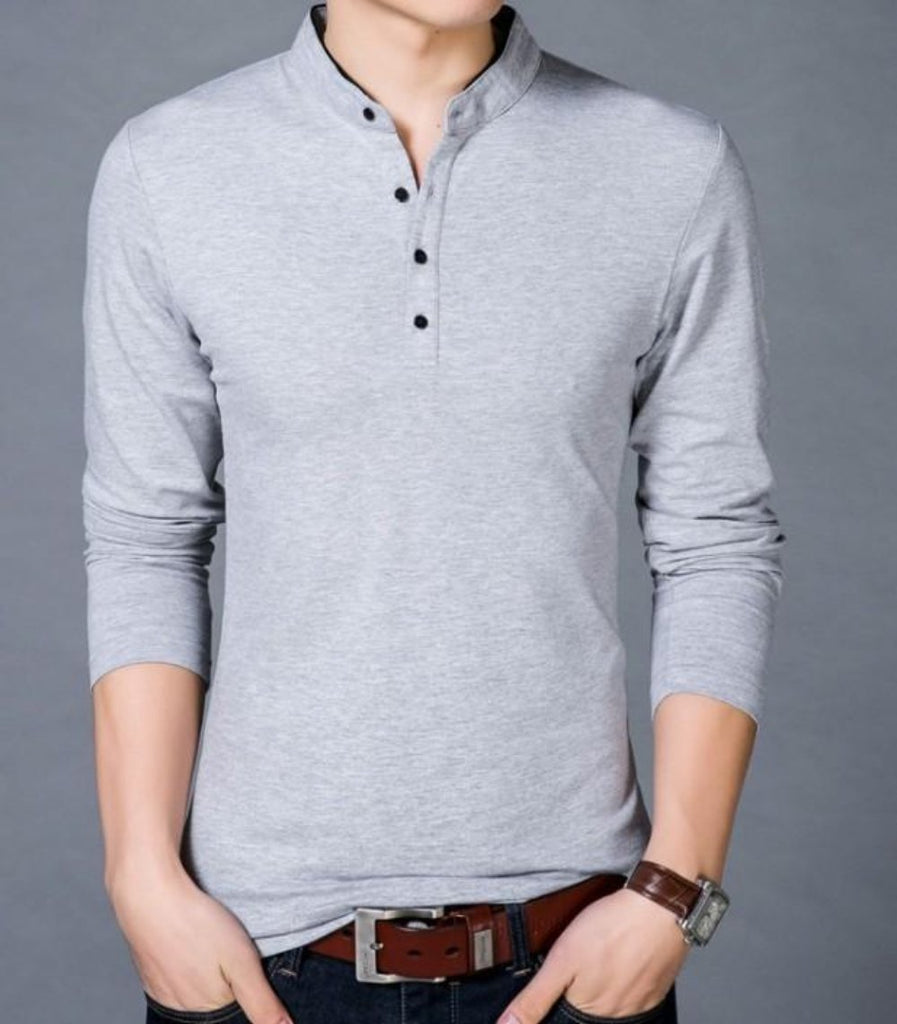 Long Sleeve Henley Shirt with Stand Up Collar - AmtifyDirect