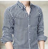 Mens Casual Long Sleeve Stripe Shirt - AmtifyDirect