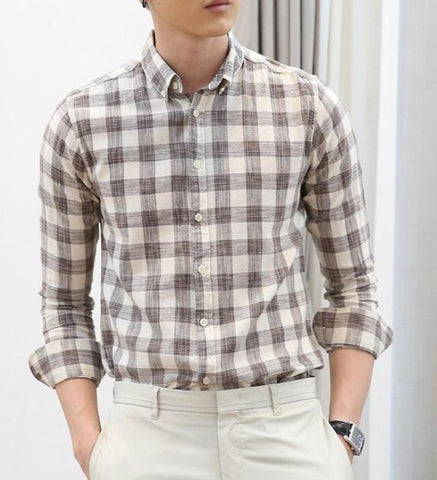 Mens Long Sleeve Checked  Shirt - AmtifyDirect