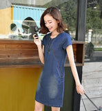 Denim A Line Dress with Pockets - AmtifyDirect