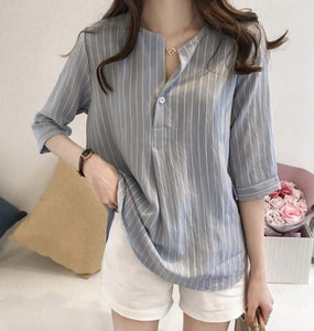 Womens V Neck One Button Stripe Shirt